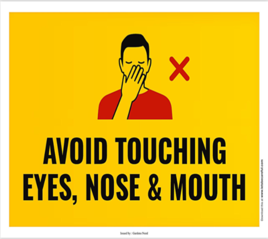 Avoid touching eyes, nose and mouth - covid19